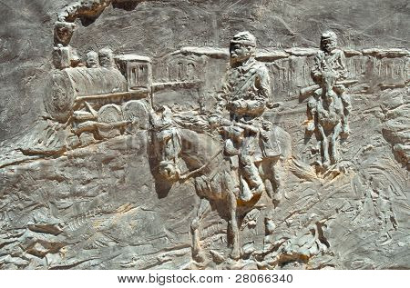 Fort Selden State Monument metal relief statues