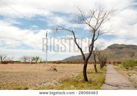 Fort Selden ruins, flagpole and desert mesa