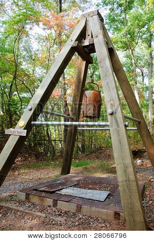 wooden a-frame at the top of a gold mine