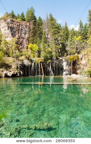 Hanging Lake and clear green water