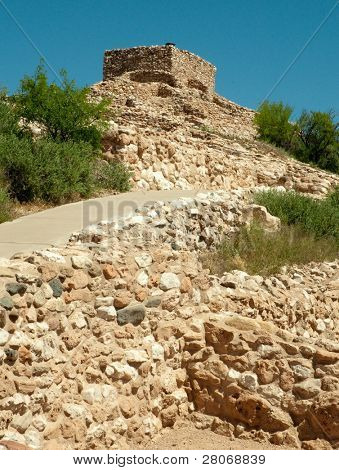 rows of Tuzigoot National Monument stone native american indian ruin walls