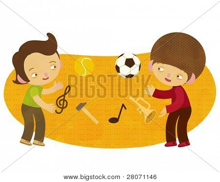 children juggling sports and music