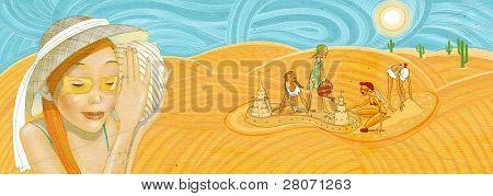 girls in a desert