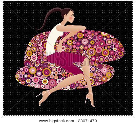 vector illustration of girl sitting on the patterned divan