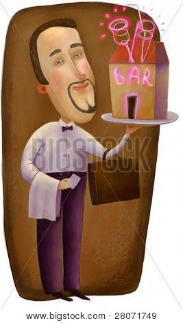 bar owner with bar on the tray
