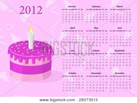 American Vector calendar 2012 with cake, starting from Sundays