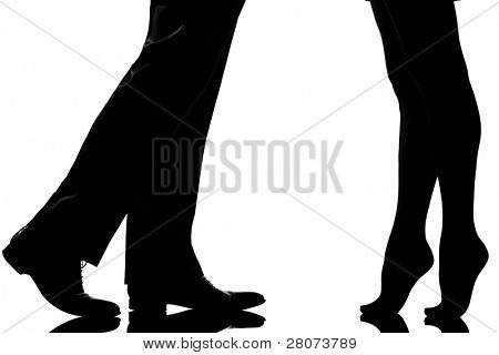 one caucasian detail legs feet couple man and woman tiptoe lovers teenderness in studio silhouette isolated on white background