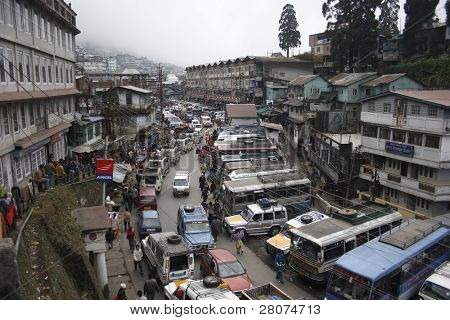 DARJEELING - CIRCA DECEMBER 2008: View of main street, bus-station and bazaar circa December 2008 in Darjeeling, Himalayas, West Bengal, India