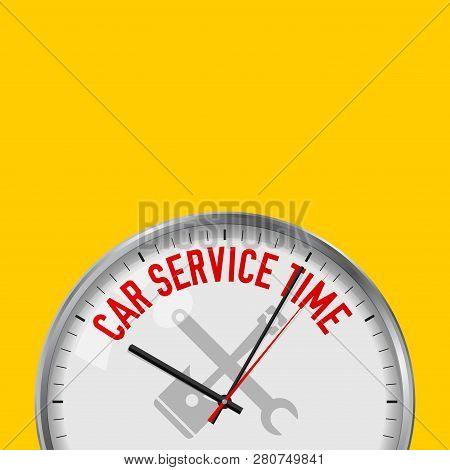 Car Service Time White Vector