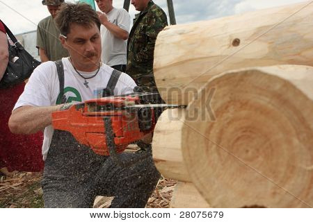 TOMSK, RUSSIA - AUGUST 9: Annual international festival-competition of carpenters