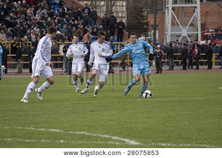 TOMSK, RUSSIA - APRIL 5: Football match Championship of Russia among Tom'(Tomsk) - Zenit (St.Petersburg), April 5, 2009 in Tomsk, Russia.