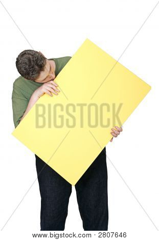 Man And Blank Sign