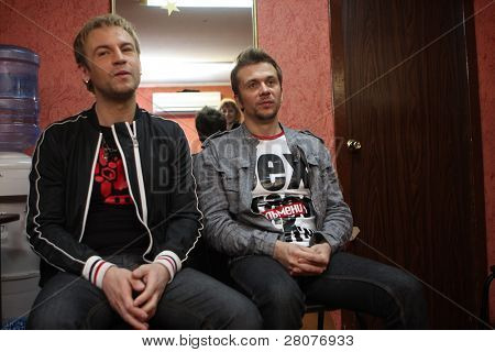 TOMSK, RUSSIA - JUNE 6: Roman Chernitsyn (L) and Maxim Postelniy (R)- frontmans of disco group