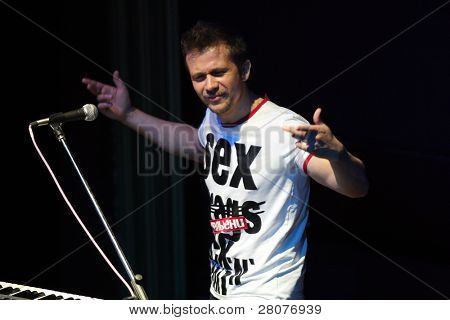 TOMSK, RUSSIA - JUNE 6: Maxim Postelniy - frontman of disco group