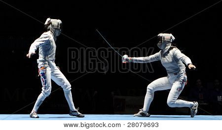 MOSCOW, RUSSIA - FEBRUARY 16: Women's national teams of France and Russia compete at the 2010 RFF Moscow Saber World Fencing Tournament, February 16, 2010 in Moscow, Russia.