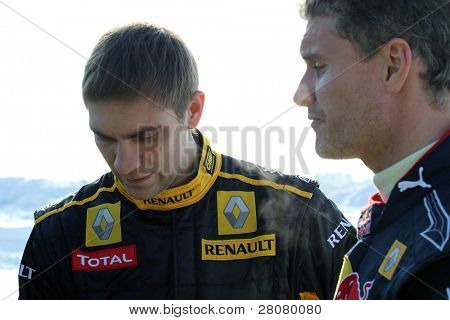 MOSCOW, RUSSIA - FEBRUARY 23: Racing drivers Vitaly Petrov(L) and David Coulthard(R) during the 21st traditional