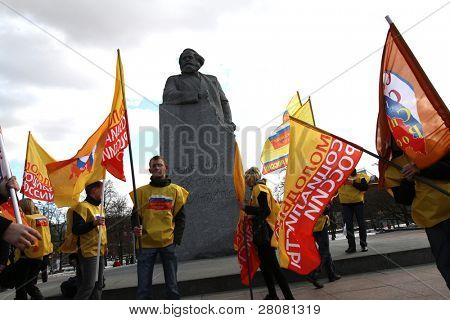 MOSCOW, RUSSIA - MARCH 25: protesters of public organization, Young socialists of Russia against high tariffs of housing and communal services, March 25, 2010 in Moscow, Russia.
