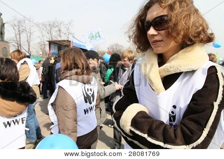 MOSCOW, RUSSIA - MARCH 28: Greenpeace to demand rescission of a government decree, which allowed the Baikal pulp and paper mill waste to pour into a unique lake, March 28, 2010 in Moscow, Russia.