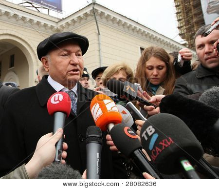MOSCOW, RUSSIA - MARCH 29: The mayor of Moscow Jury Luzhkov who after act of terrorism makes the statement near metro station Park Kultury, March 29, 2010 in Moscow, Russia.
