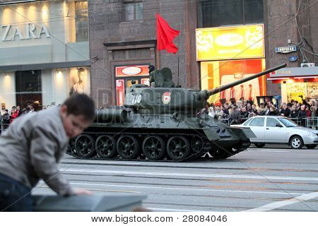 MOSCOW - APRIL 29: Russian army military vehicles in downtown Moscow on Tverskaya Street near Red Square, during a rehearsal for the Victory Day military parade, April 29, 2010 in Moscow, Russia.
