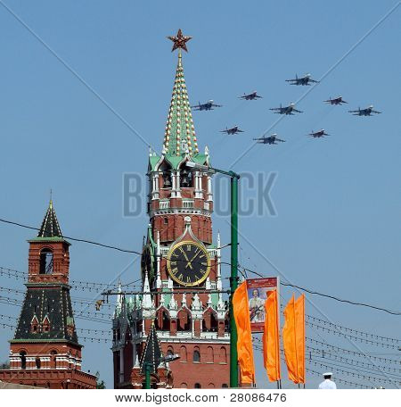 MOSCOW - MAY 9: Russian army bombers fly over Grand Kremlin Palace during the Military Parade dedicated to the 65th anniversary of the Victory in the Great Patriotic War, May 9, 2010 in Moscow, Russia