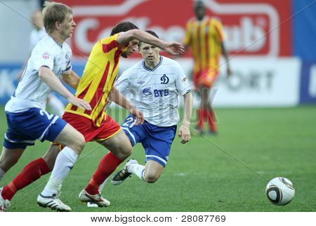 MOSCOW - MAY 15: Dinamo's midfielder Igor Semshov (21) in a game of the 11th round of Russian Football Premier League - Dinamo Moscow vs. Alania Vladikavkaz - 2:0, May 15, 2010 in Moscow, Russia.