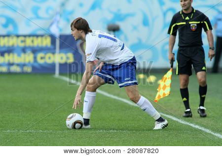 MOSCOW - MAY 15: Dinamo's defender Vladimir Granat in a game of the 11th round of Russian Football Premier League - Dinamo Moscow vs. Alania Vladikavkaz - 2:0, May 15, 2010 in Moscow, Russia.