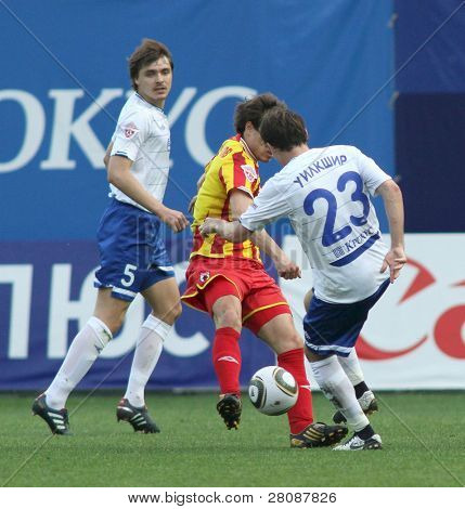 MOSCOW - MAY 15: Dinamo's defender Aleksandr Epurjanu (L) in a game of the 11th round of Russian Football Premier League - Dinamo Moscow vs. Alania Vladikavkaz - 2:0, May 15, 2010 in Moscow, Russia.