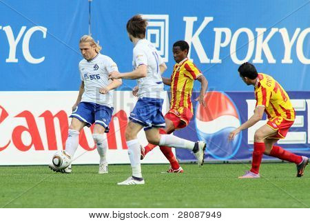 MOSCOW - MAY 15: Dinamo's forward Andrei Voronin (L) in a game of the 11th round of Russian Football Premier League - Dinamo Moscow vs. Alania Vladikavkaz - 2:0, May 15, 2010 in Moscow, Russia.
