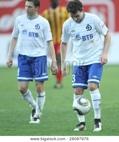 MOSCOW - MAY 15: Dinamo's defender Luke Wilkshire (R) in a game of the 11th round of Russian Football Premier League - Dinamo Moscow vs. Alania Vladikavkaz - 2:0, May 15, 2010 in Moscow, Russia.