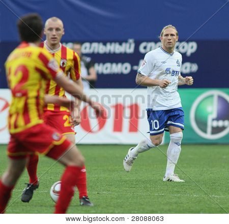 MOSCOW - MAY 15: Dinamo's forward Andrei Voronin (R) in a game of the 11th round of Russian Football Premier League - Dinamo Moscow vs. Alania Vladikavkaz - 2:0, May 15, 2010 in Moscow, Russia.