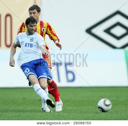 MOSCOW - MAY 15: Dinamo's midfielder Adrian Ropotan (20) in a game of the 11th round of Russian Football Premier League - Dinamo Moscow vs. Alania Vladikavkaz - 2:0, May 15, 2010 in Moscow, Russia.