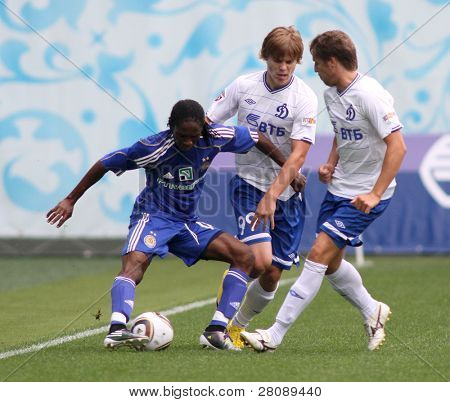 MOSCOW - JULY 3: Dynamo Kyiv's midfielder Frank Temile (left) in the VTB Lev Yashin Cup: FC Dynamo Moscow vs. FC Dynamo Kyiv (2:0), July 3, 2010 in Moscow, Russia.