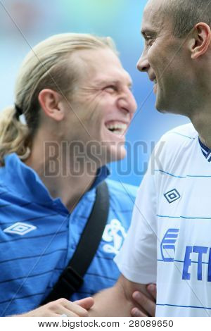 MOSCOW - JULY 3: Dinamo's midfielder Dmitry Hohlov (R) and Dynamo Moscow forward Andrei Voronin (L) in the VTB Lev Yashin Cup: FC Dynamo Moscow vs. FC Dynamo Kyiv(2:0), July 3, 2010 in Moscow, Russia.