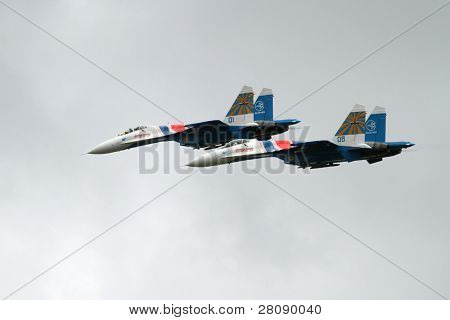 KOSTROMA REGION - AUGUST 26: Combat aircraft company Sukhoi on the Command post exercises with 98-th Guards Airborne Division, August 26, 2010 in Kostroma region, Russia.