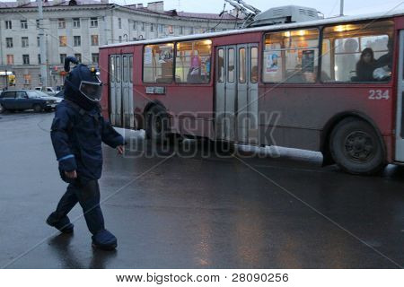 KARELIA REPUBLIC, PETROZAVODSK - OCTOBER 21: Emergency operation for the disposal of explosive devices at railway station, October 21, 2010 in Petrozavodsk, Russia.
