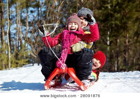 Happy friends in winterwear tobogganing in park