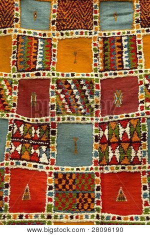 african carpet background detail in a street of morroco