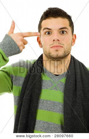young man pointing to his head in simulation of suicide