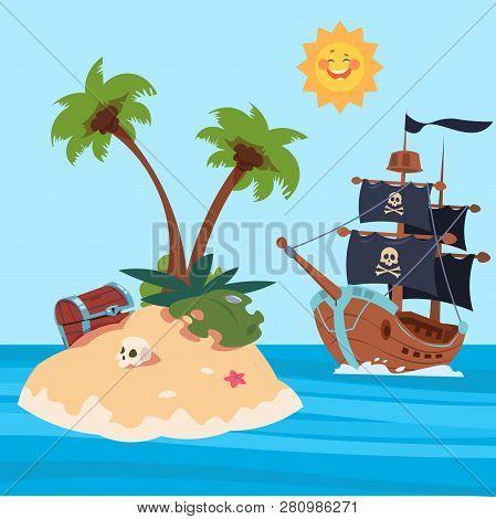 Pirates Ship And Treasures Island