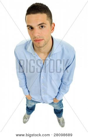 young casual man full body, isolated on white