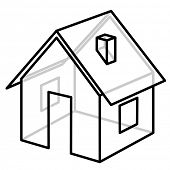 House. Wire-frame model. Vector illustration.