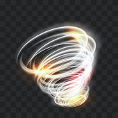 A Glowing Tornado. Rotating Wind. Beautiful Wind Effect. Isolated On A Transparent Background. Vecto poster
