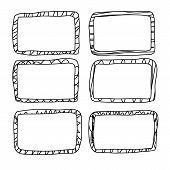 Frames In Doodle Style. Set Of Rectangle Handdrawn Borders. Vector Illustration. poster