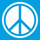 Sign Hippie Peace Icon White Isolated On Blue Background Illustration poster