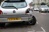 HASTINGS, ENGLAND - NOVEMBER 14: A Ford Fiesta car damaged after a collision to the rear on November