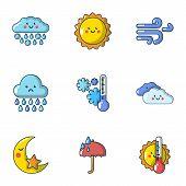Meteorological Data Icons Set. Cartoon Set Of 9 Meteorological Data Icons For Web Isolated On White  poster