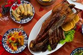 Beijing Roasted Duck Or Peking Roasted Duck, One Of Most Famous Chinese Cuisine Served On Festive Ta poster