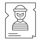 Wanted Thin Line Icon, Police And Reward, Poster Sign, Vector Graphics, A Linear Pattern On A White  poster