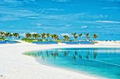 Tropical Beach In Great Stirrup Cay, Bahamas. Sea Shore, White Sand, Palm Trees On Blue Sky. Summer  poster